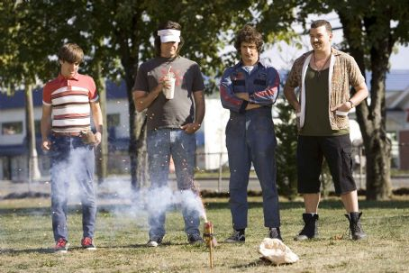 "Jorma Taccone - (Left to right) Kevin Powell (JORMA TACCONE), Dave (BILL HADER), Rod Kimble (ANDY SAMBERG) and Rico (DANNY McBRIDE) enjoy the fireworks in ""Hot Rod."" Paramount Pictures Presents A Michaels/Goldwyn Production ""Hot Rod"" starring Andy"
