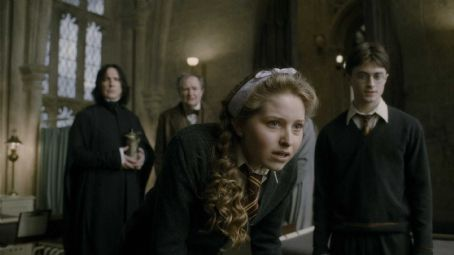 Severus Snape (L-r) ALAN RICKMAN as Professor , JIM BROADBENT as Professor Horace Slughorn, JESSIE CAVE as Lavender Brown and DANIEL RADCLIFFE as Harry Potter in Warner Bros. Pictures' fantasy adventure 'Harry Potter and the Half-Blood Prince.'