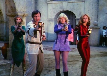 Tara Buckman Jamie Lee Curtis, Gil Gerard,  and Erin Gray in Buck Rogers