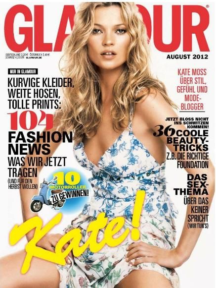 Kate Moss - Glamour Magazine Cover [Germany] (August 2012)
