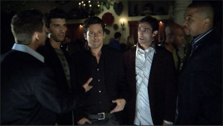 Matteo (Brandon Olive), Gavin (Justin Baldoni), Ethan (Ross McCall), Kyle (Paul J. Alessi) and Russell (Omar Gooding) in the scene of Knuckle Draggers.