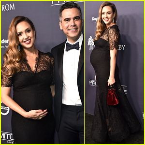 Pregnant Jessica Alba Cradles Baby Bump at Baby2Baby Gala With Cash Warren