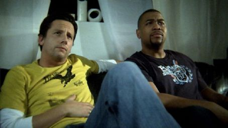 Omar Gooding Ethan (Ross McCall) with Russell () in Partners In Crime Films' Knuckle Draggers.