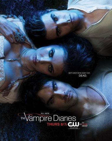Damon Salvatore Paul Wesley as Stefan Salvatore, Ian Somerhalder as  and Nina Dobrev as Elena Gilbert/Katherine Pierce in The Vampire Diaries Second Season Poster (2010)