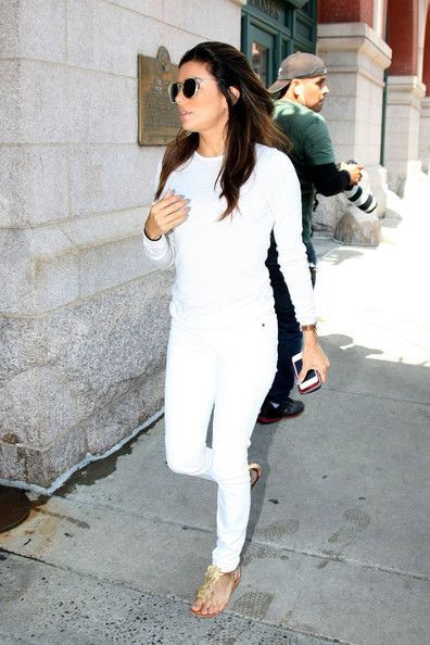 Eva Longoria steps out in all white attire in New York City