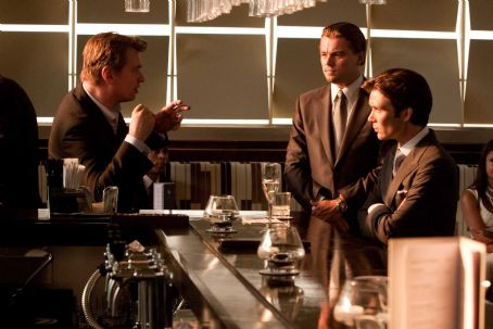 "Christopher Nolan - (L-r) Director CHRISTOPHER NOLAN with LEONARDO DiCAPRIO and CILLIAN MURPHY on the set of Warner Bros. Pictures' and Legendary Pictures' sci-fi action film ""INCEPTION,"" a Warner Bros. Pictures release. Photo by Stephen Vaughan"