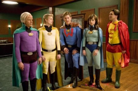 Danielle Harris Sam Lloyd as Herman Brainard, Ray Griggs as Puffer Boy, Ryan McPartlin as Will Powers,  as Felicia Freeze and Justin Whalin as Ed Gruberman in Super Capers. Photo by Phil Nee.