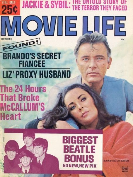 Richard Burton, Elizabeth Taylor - Movie Life Magazine Cover [United States] (October 1965)