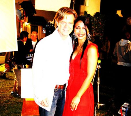 William H. Macy and Natalie Becker on the set of The Deal.