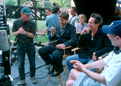 Brian Grazer Director Ron Howard, Russell Crowe, producer  and screenwriter Akiva Goldsman on the set ofUniversal's A Beautiful Mind - 2001