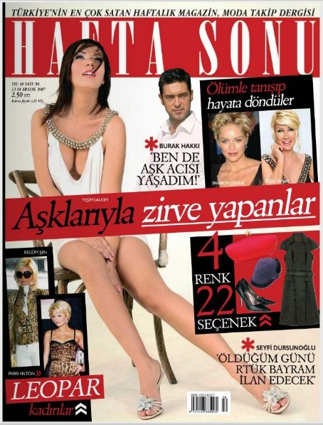 Yesim Salkim, Paris Hilton, Sharon Stone, Burak Hakki - Haftasonu Magazine Cover [Turkey] (12 December 2007)