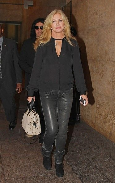 Shannon Tweed and Gene Simmons seen leaving from the Sirius Radio building in New York.