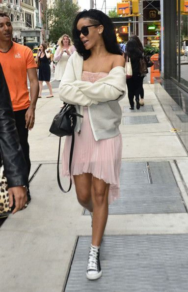 Rihanna rocking a see through shirt while out in New York City, New York on June 11, 2012