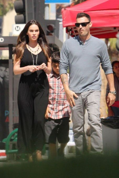 Megan Fox and Brian Austin Green with Kassius at Sunday mass service (July 15)
