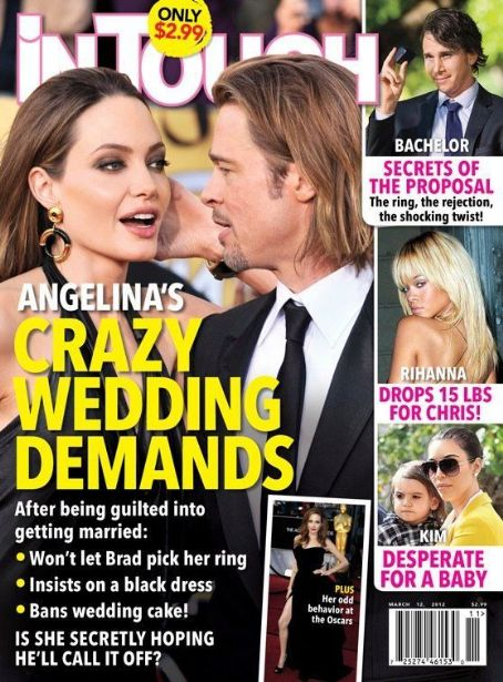 Angelina Jolie, Brad Pitt, Rihanna - In Touch Weekly Magazine Cover [United States] (12 March 2012)