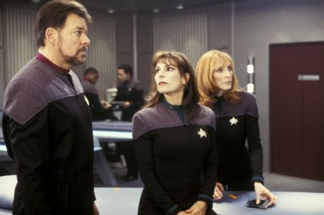 Gates McFadden Jonathan Frakes as Commander William T. Riker, Marina Sirtis as Counselor Deanna Troi and  as Dr. Beverly Crusher in Paramount's Star Trek: Nemesis - 2002