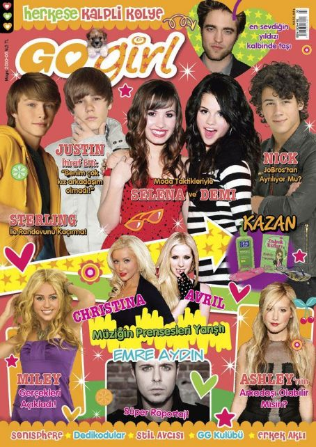 Justin Bieber, Selena Gomez, Demi Lovato, Nick Jonas, Miley Cyrus, Emre Aydin, Christina Aguilera, Avril Lavigne, Ashley Tisdale, Robert Pattinson, Sterling Knight - Go Girl Magazine Cover [Turkey] (May 2010)