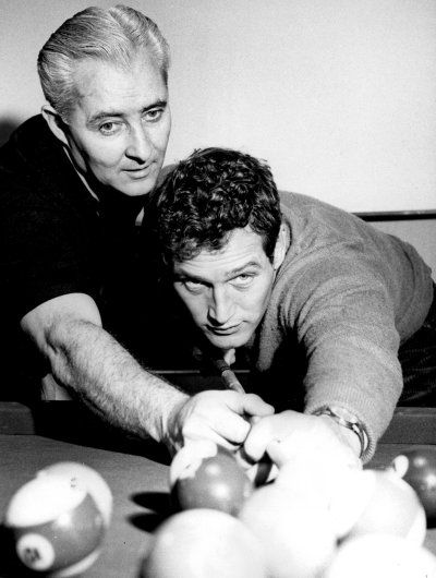 The Hustler Billard great Willie Mosconi instructing Paul Newman
