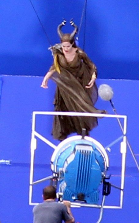 "Angelina Jolie filming scenes for ""Maleficent"" in Buckinghamshire, England (July 11)"