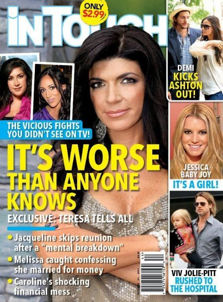 Jacqueline Laurita, Teresa Giudice, Brad Pitt, Demi Moore, Ashton Kutcher, Jessica Simpson - In Touch Weekly Magazine Cover [United States] (31 October 2011)