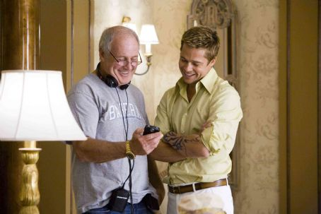 """Jerry Weintraub Producer JERRY WEINTRAUB and BRAD PITT, who stars as Rusty Ryan, on the set of Warner Bros. Pictures' and Village Roadshow Pictures' """"Ocean's Thirteen,"""" distributed by Warner Bros. Pictures. The film also stars George Clooney"""