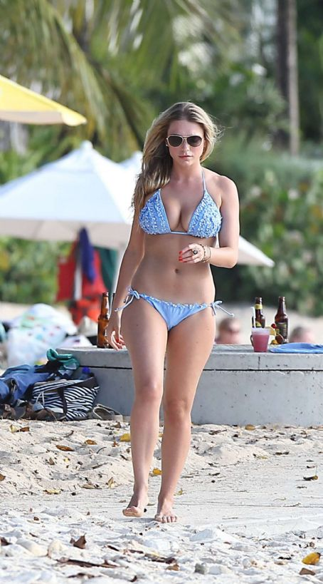 April Summers  Blue Bikini Candids At A Beach In Barbados