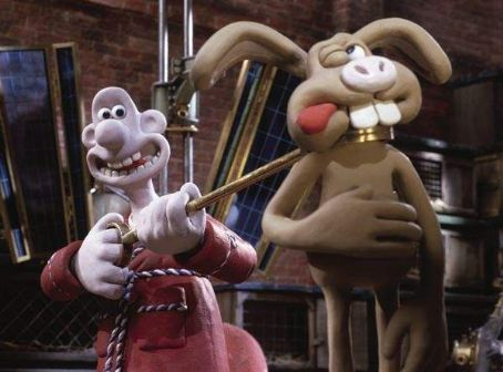 Wallace (voiced by Peter Sallis) and Hutch in DreamWorks Animation's Wallace & Gromit: The Curse of the Were-Rabbit