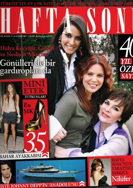 Eda Taspinar, Hülya Koçyigit, Johnny Depp, Nilüfer Yumlu - Haftasonu Magazine Cover [Turkey] (14 March 2007)