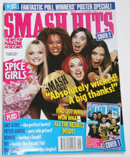 Emma Bunton, Melanie Chisholm, Victoria Beckham, Melanie Brown, Geri Halliwell - Smash Hits Magazine Cover [United Kingdom] (17 December 1996)