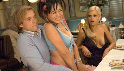 Adam Campbell (L to R)  as Grant Fonckyerdoder, Marie Matiko as Betty and Sophie Monk as Andy in Comedy / Romance movie Date Movie 2006.