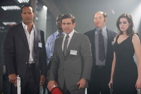 "David Koechner (L-r) DWAYNE JOHNSON as Agent 23, TERRY CREWS as Agent 91, STEVE CARELL as Maxwell Smart, DAVID KOECHNER as Agent Larabee and ANNE HATHAWAY as Agent 99 in Warner Bros. Pictures' and Village Roadshow Pictures' action comedy ""Get Smart,&#8"