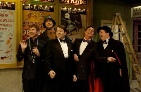 Roger Bart (L to R)  as Carmen Ghia, Will Ferrell as Franz Liebkind, Matthew Broderick as Leo Bloom, Gary Beach as Roger De Bris and Nathan Lane as Max Bialystock.