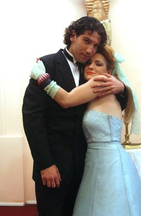 Tony 'n' Tina's Wedding Jon Bernthal as Dominic and Daisy Eagan as Donna Marsala in Tony 'n' Tina's Wedding.