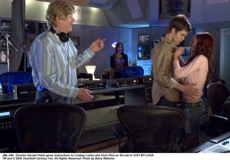 Ashley Albright Director Donald Petrie gives instructions to Lindsay Lohan and Chris Pine on the set of JUST MY LUCK. TM and © 2006 Twentieth Century Fox. All Right Reserved. Photo by Barry Wecher.