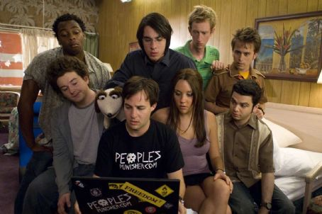 Samm Levine (Up) Donté Bonner as Embele, Jack Carpenter as Lenny, Jeremy Howard as Terrance and Arnie Pantoja as George. (Down) Adam Hendershott as Jeremy, Danny Strong as Gurkin, Amanda Bynes as Sydney and  as Spanky in Universal Pictures' Sydney Whit