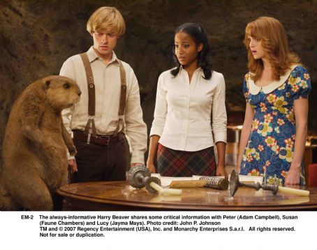 Adam Campbell The always-informative Harry Beaver shares some critical information with Peter (), Susan (Faune Chambers) and Lucy (Jayma Mays). Photo credit: John P. Johnson