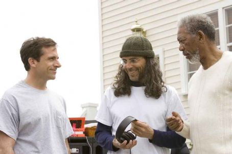 Tom Shadyac Steve Carell,  and Morgan Freeman behind the scene of Evan Almighty