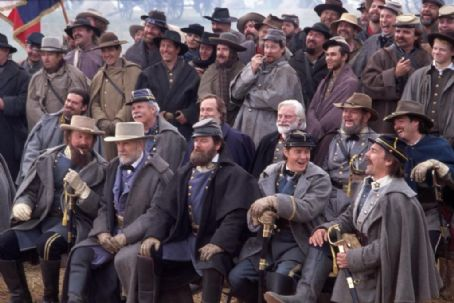 (L-r, front row) Bruce Boxleitner, Robert Duvall, Stephen Lang, Jeremy London, Bo Brinkman, (second row, r-l) Scott Cooper, Royce Applegate, John Castle, Patrick Gorman and Ted Turner in Ted Turner Pictures sweeping epic 'Gods and Generals,'
