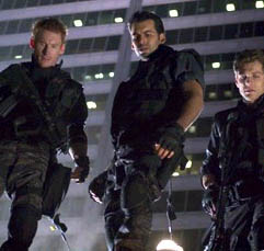 Carlos Olivera [From left to right] Zack Ward, Oded Fehr and Eric Mabius in a scene from Resident Evil: Apocalypse - 2004