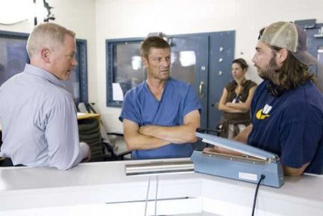 Neal McDonough  (left), Sean Bean (center) and Producer Andrew Form (right) on the set of Rogue Pictures' terrifying new thriller THE HITCHER.  Photo  Van Redin.