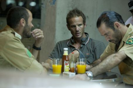 Ali Suliman, Director Peter Berg and Ashraf Barhom on the set of The Kingdom.