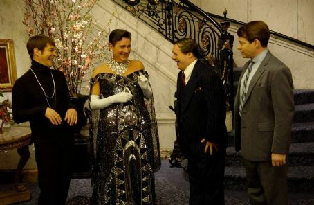Roger Bart (L to R)  as common-law assistant Carmen Ghia, Gary Beach as flamboyantly untalented director Roger De Bris, Nathan Lane as Max Bialystock and Matthew Broderick as Leo Bloom.
