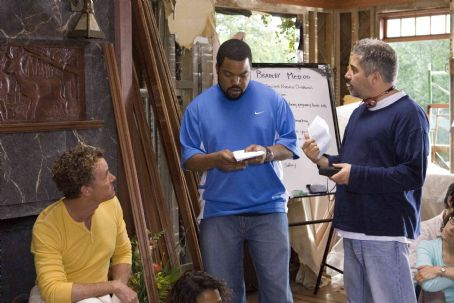 John C. McGinley  (left), Executive Producer Ice Cube (center), and Director/Executive Producer Steve Carr (right) on the set of Columbia Pictures'/Revolution Studios' Are We Done Yet?. Photo Credit: Rob McEwan. © 2007 Revolution Studios Distributi