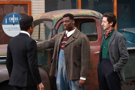 Leonard Chess (L to R) Jeffrey Wright as 'Muddy Waters', Eamonn Walker as 'Howlin' Wolf' and Adrien Brody as '' in Sony BMG Film, Parkwood Pictures and Tristar Pictures' drama CADILLAC RECORDS. Photo credit: Eric Liebowitz.