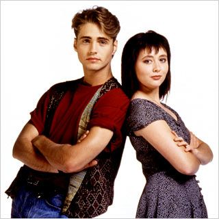 Brandon Walsh Jason Priestley as  and Shannen Doherty as Brenda Walsh in Beverly Hills,90210 (1990)