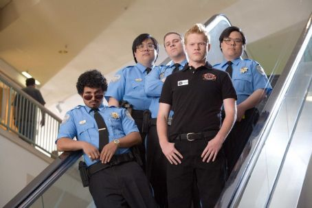 Jesse Plemons (L-R) MICHAEL PEÑA as Dennis, JOHN YUAN as John Yuen, SETH ROGEN stars as Ronnie, JESSE PLEMONS as Charles and MATT YUAN as Matt Yuen in Warner Bros. Pictures' and Legendary Pictures' dark comedy 'Observe and Report,' a Warner Bros. Pictur