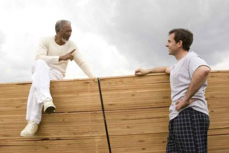 God Steve Carell and Morgan Freeman on the set of Evan Almighty - 2007