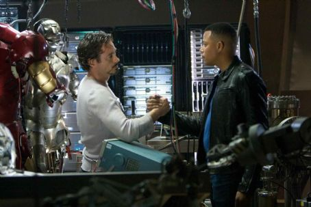 "Tony Stark Robert Downey Jr. (left) as billionaire industrialist  aka Iron Man, and Terrence Howard (right) as his close friend Rhodey, star in ""Iron Man."" Photo Credit: Zade Rosenthal. © 2008 MVLFFLLC.  ™ & © 2008 Marvel Entertainment. All rig"