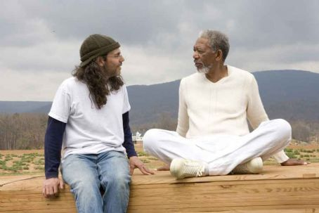 God Tom Shadyac and Morgan Freeman behind the scene of Evan Almighty