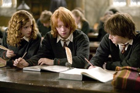 Hermione Granger (L - r)Emma Watson as Hermione, Rupert Grint as Ron and Daniel Radcliffe as Harry in Warner Bros. Harry Potter and the Goblet of Fire - 2005